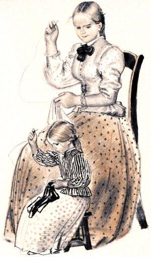 Как тетушка рассказывала о том, как она выучилась шить (Толстой) — читать  онлайн