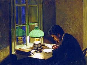 «Зелёная лампа» накартине А.Жмуйдзинавичюса «Всю Ночь Напролет», 1906