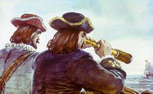 Однажды на рассвете, когда мы после долгого плавания шли между Канарскими островами и Африкой, на нас напали пираты — морские разбойники. Иллюстрация В. Шевченко к роману Даниэля Дефо «Робинзон Крузо»