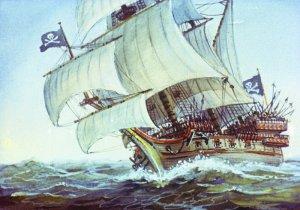 Около трех часов пополудни разбойничий корабль догнал нас. Иллюстрация В. Шевченко к роману Даниэля Дефо «Робинзон Крузо»