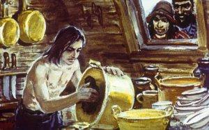 Меня капитан разбойничьего судна удержал при себе и сделал своим рабом. Иллюстрация В. Шевченко к роману Даниэля Дефо «Робинзон Крузо»