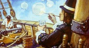 Так как в то время у меня была щегольская одежда и в кармане водились деньги, я всегда являлся на корабль праздным шалопаем: ничего там не делал и ничему не учился. Иллюстрация В. Шевченко к роману Даниэля Дефо «Робинзон Крузо»