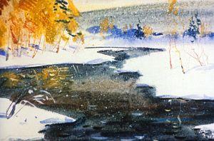 Скоро выпал и первый снег, а река все еще не поддавалась холоду. Иллюстрация В. Дугина к рассказу Д. Н. Мамина-Сибиряка «Серая Шейка»