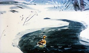 Серая Шейка была в отчаянии, потому что не замерзла только самая середина реки, где образовалась широкая полынья. Иллюстрация В. Дугина к рассказу Д. Н. Мамина-Сибиряка «Серая Шейка»