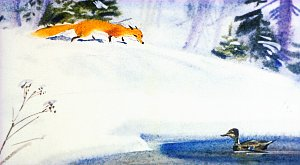 Лиса и Серая Шейка. Иллюстрация В. Дугина к рассказу Д. Н. Мамина-Сибиряка «Серая Шейка»