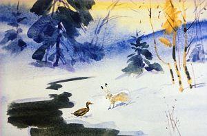 — Берегись, Серая Шейка: она опять придет. Иллюстрация В. Дугина к рассказу Д. Н. Мамина-Сибиряка «Серая Шейка»