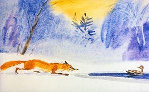 Лиса принялась ползти осторожно по льду к самой полынье. Иллюстрация В. Дугина к рассказу Д. Н. Мамина-Сибиряка «Серая Шейка»