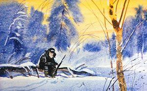 Старичок порядком измучился, обругал лукавых зайцев и присел на берегу реки отдохнуть. Иллюстрация В. Дугина к рассказу Д. Н. Мамина-Сибиряка «Серая Шейка»