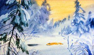 Сидит старичок, горюет, а тут, глядь, Лиса по реке ползет, — так и ползет, точно кошка. Иллюстрация В. Дугина к рассказу Д. Н. Мамина-Сибиряка «Серая Шейка»