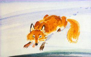 Лиса действительно подползла к самой полынье, в которой плавала Серая Шейка, и улеглась на льду. Иллюстрация В. Дугина к рассказу Д. Н. Мамина-Сибиряка «Серая Шейка»