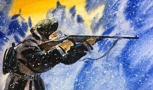 Старичок долго прицеливался, выбирая место в будущем воротнике. Иллюстрация В. Дугина к рассказу Д. Н. Мамина-Сибиряка «Серая Шейка»