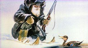 — А я, дедушка, не могла улететь вместе с другими. У меня одно крылышко попорчено… Иллюстрация В. Дугина к рассказу Д. Н. Мамина-Сибиряка «Серая Шейка»