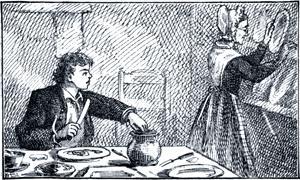 Пока Том ужинал и по мере возможности таскал сахар, тетка Полли предлагала ему вопросы, полные коварства и чрезвычайно глубокие. Иллюстрация 1876 г. к 1-му изданию повести Марка Твена «Приключения Тома Сойера»