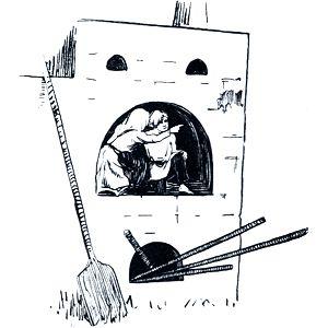 Девочка поскорей пирожок в рот, а сама с братцем в печь, и спряталась в устьеце. Иллюстрация к русской народной сказке «Гуси-лебеди». Издание 1916 г.