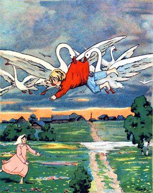 Гуси-лебеди давно себе дурную славу нажили — маленьких детей таскали; девочка угадала, что они унесли её братца, и бросилась их догонять. Иллюстрация к русской народной сказке «Гуси-лебеди». Издание 1916 г.
