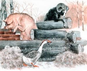 Баран, свинья и гусь строят избу. Иллюстрация Д. Горлова к русской народной сказке «Зимовье зверей»