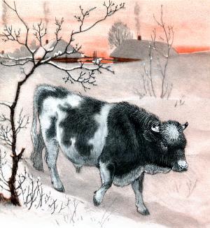 Надоело быку зимой в хлеву стоять. Вышел он со двора и пошёл в лес. Иллюстрация Д. Горлова к русской народной сказке «Зимовье зверей»