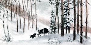 Пошли бык и баран вдвоём. Иллюстрация Д. Горлова к русской народной сказке «Зимовье зверей»